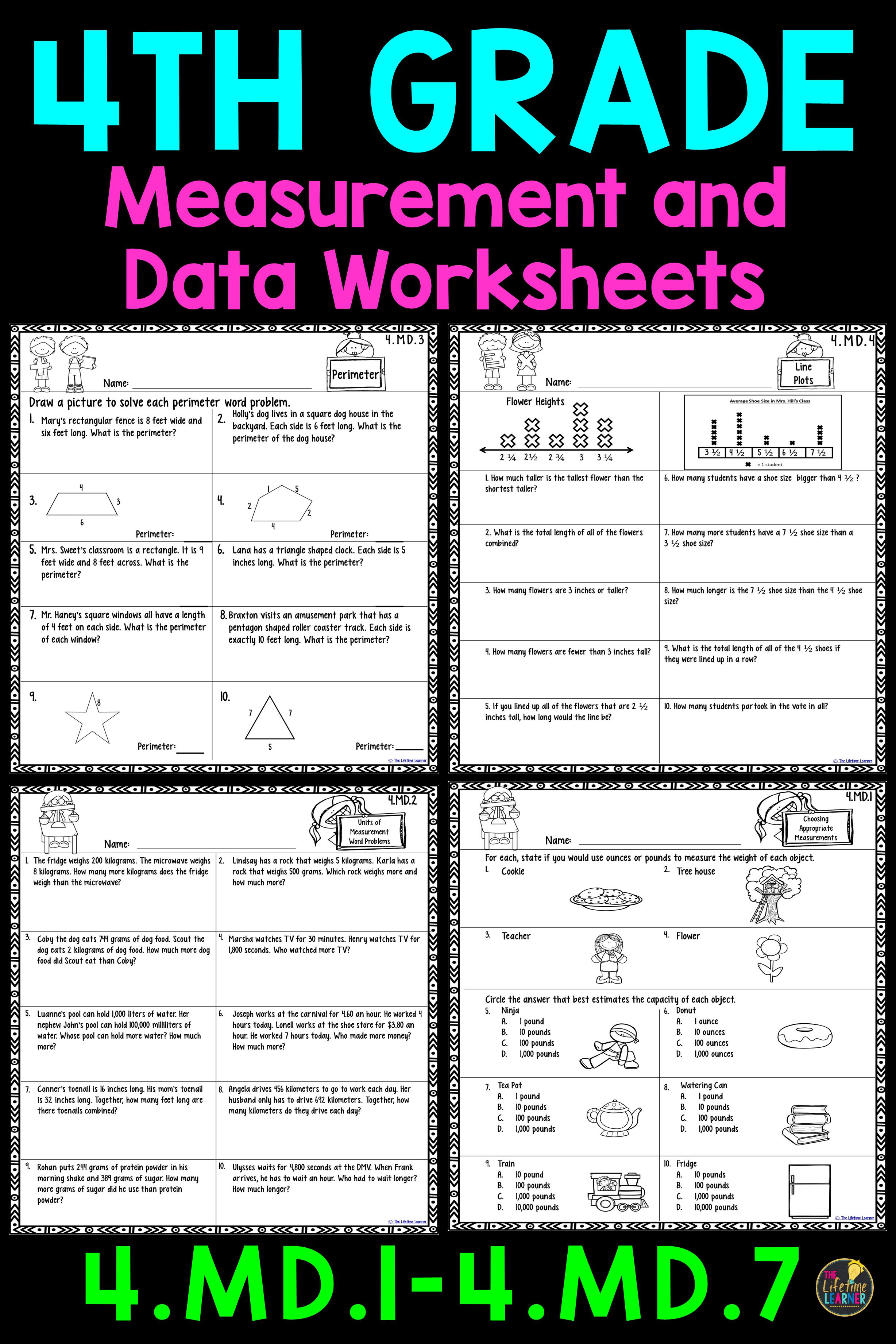 4th Grade Measurement and Data Worksheets | 4th grade math ...