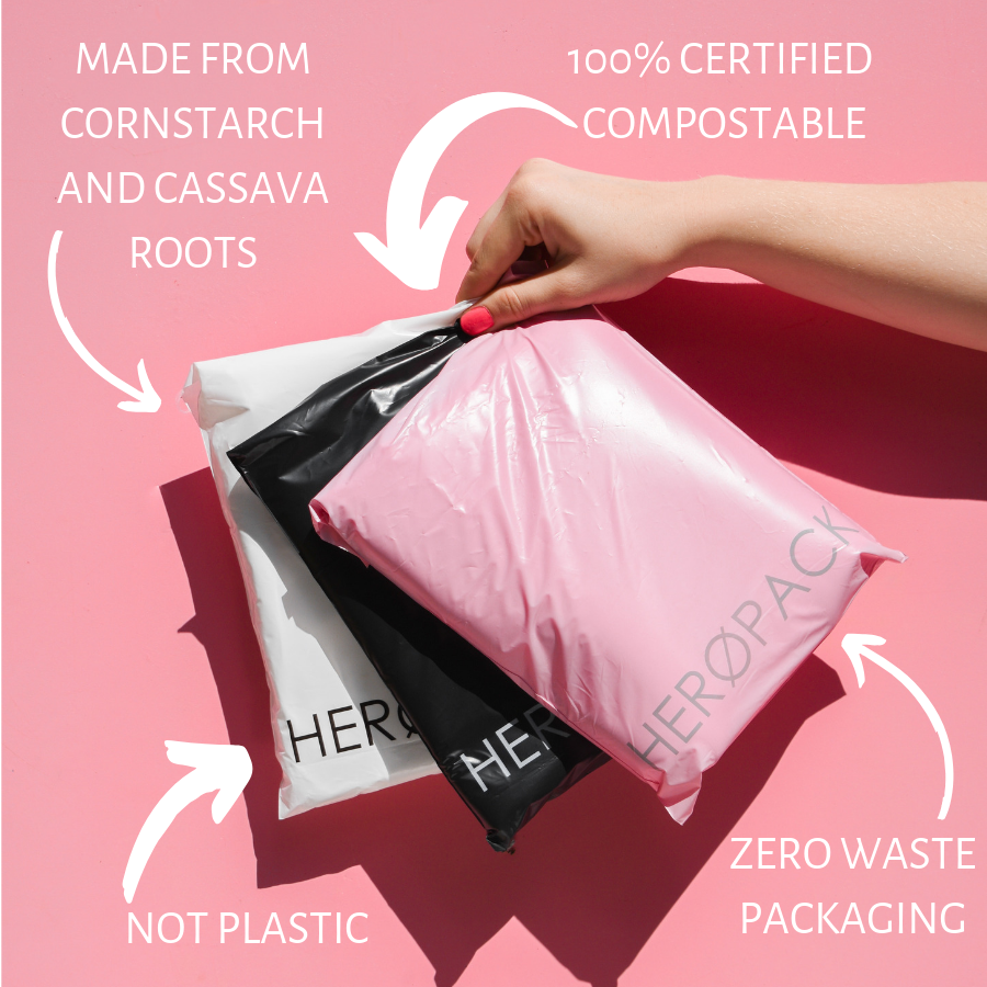 biodegradale pink mailing bags