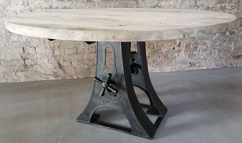Ronde Tafel Industrieel : Ronde tafel industrieel oud eikenhout ronde tafel in