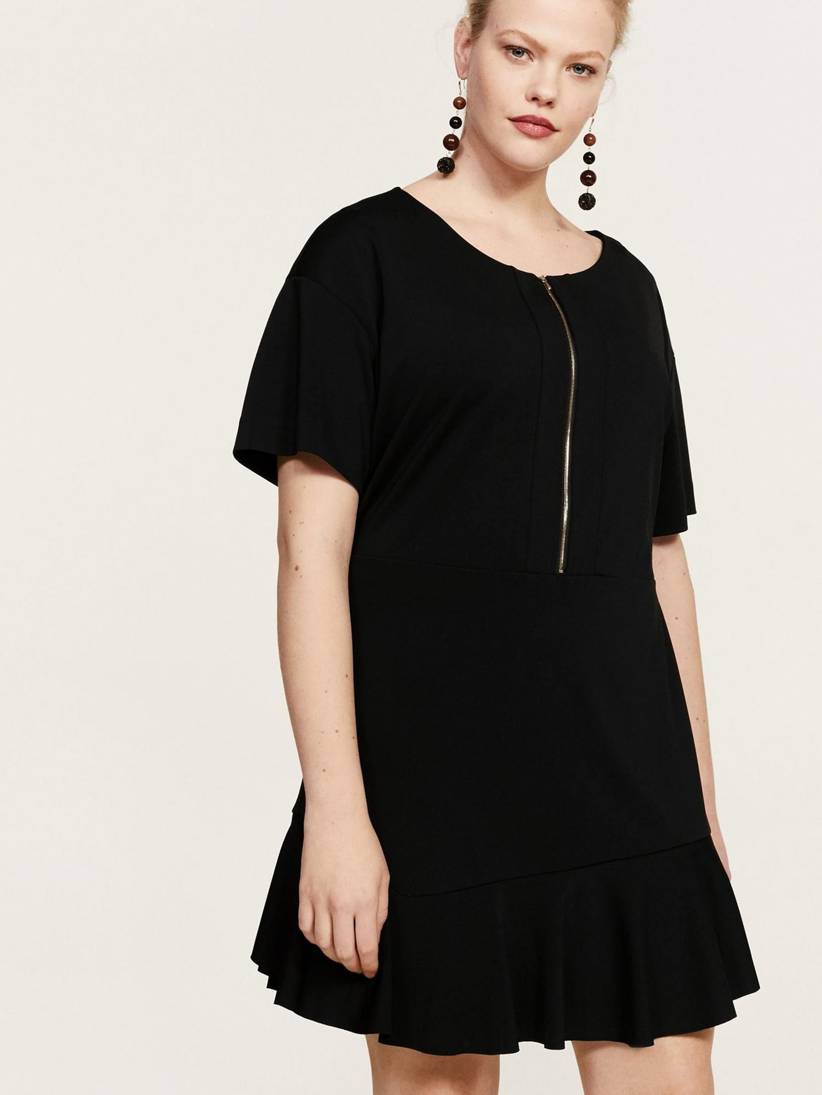 Violeta Plus Size Zip Front Dress - Black