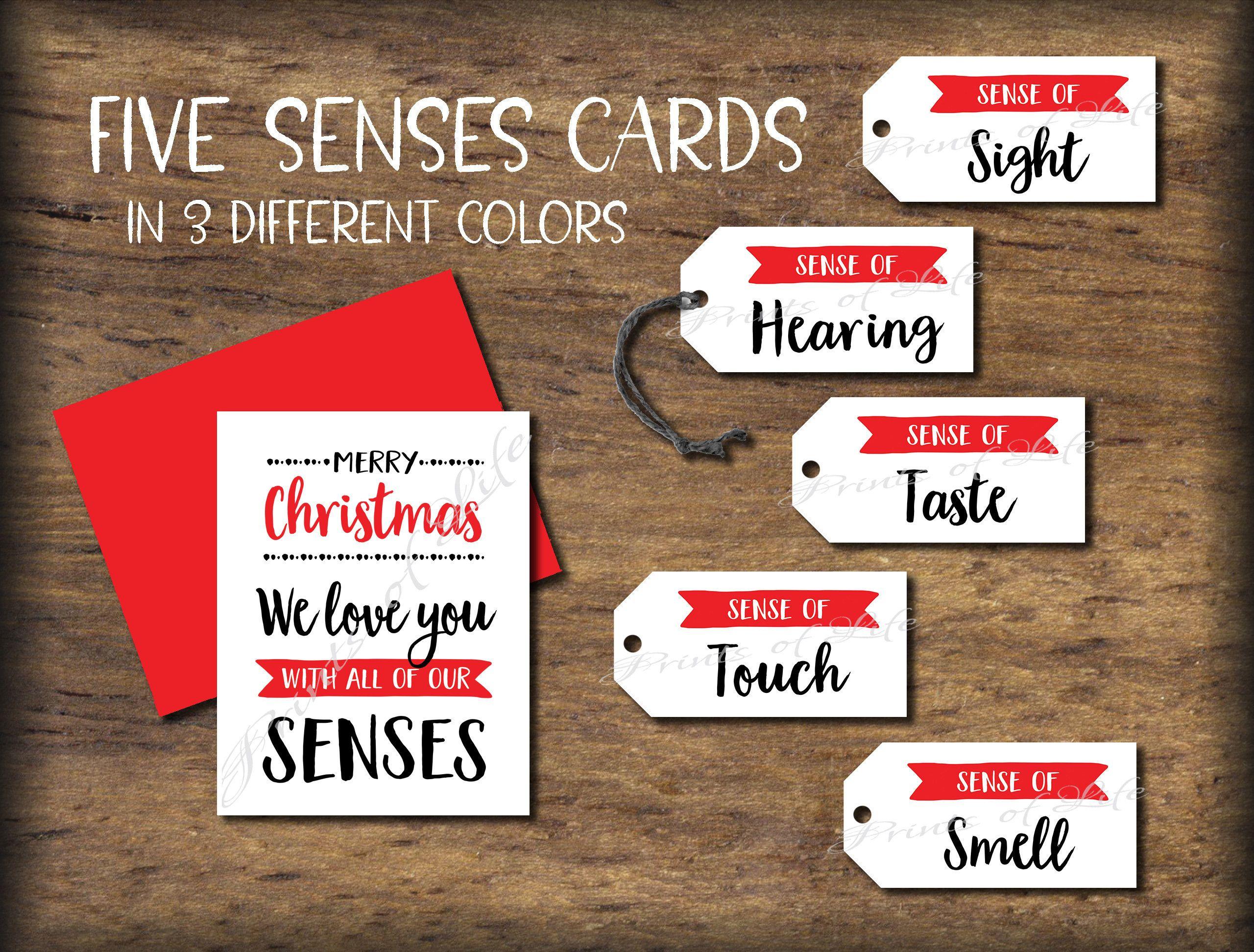 five senses gift tags