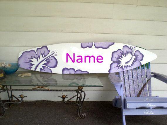 6 foot wood hawaiian surfboard wall art decor or headboard kids room white with purple via