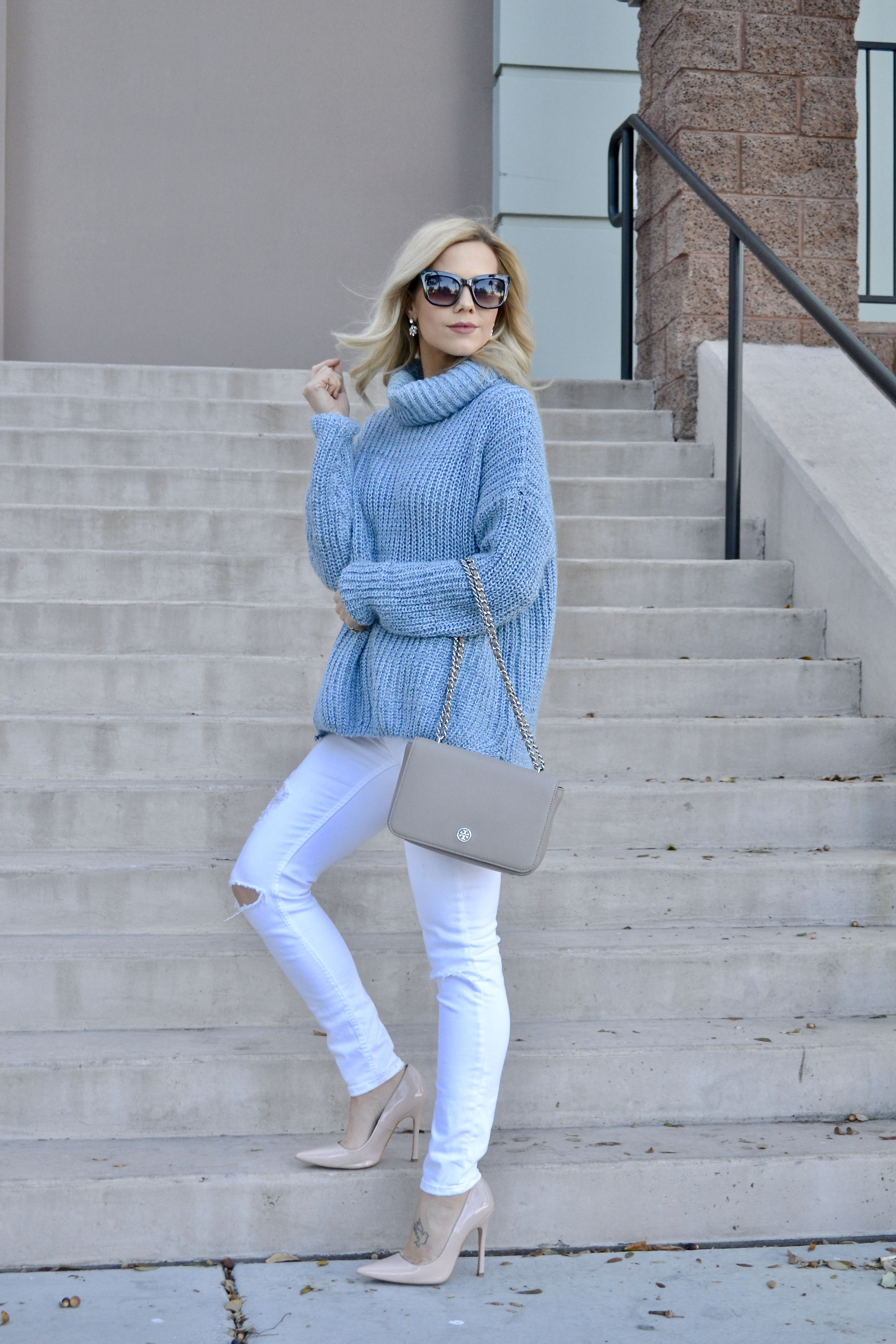 The Coziest Blue Sweater I Ever Did Wear | Nude pumps, Tory burch ...