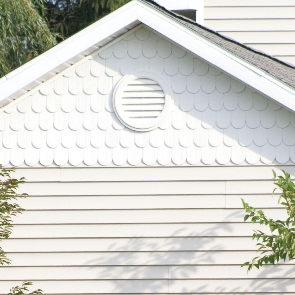 Builders Edge 18 In X 18 In Round White Plastic Built In Screen Gable Louver Vent 120031818001 The Home Depot Cedar Shingle Siding Builders Edge Gable Vents