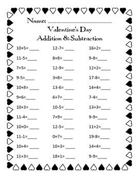 1000+ images about Valentine's Day - addition, subtraction ...