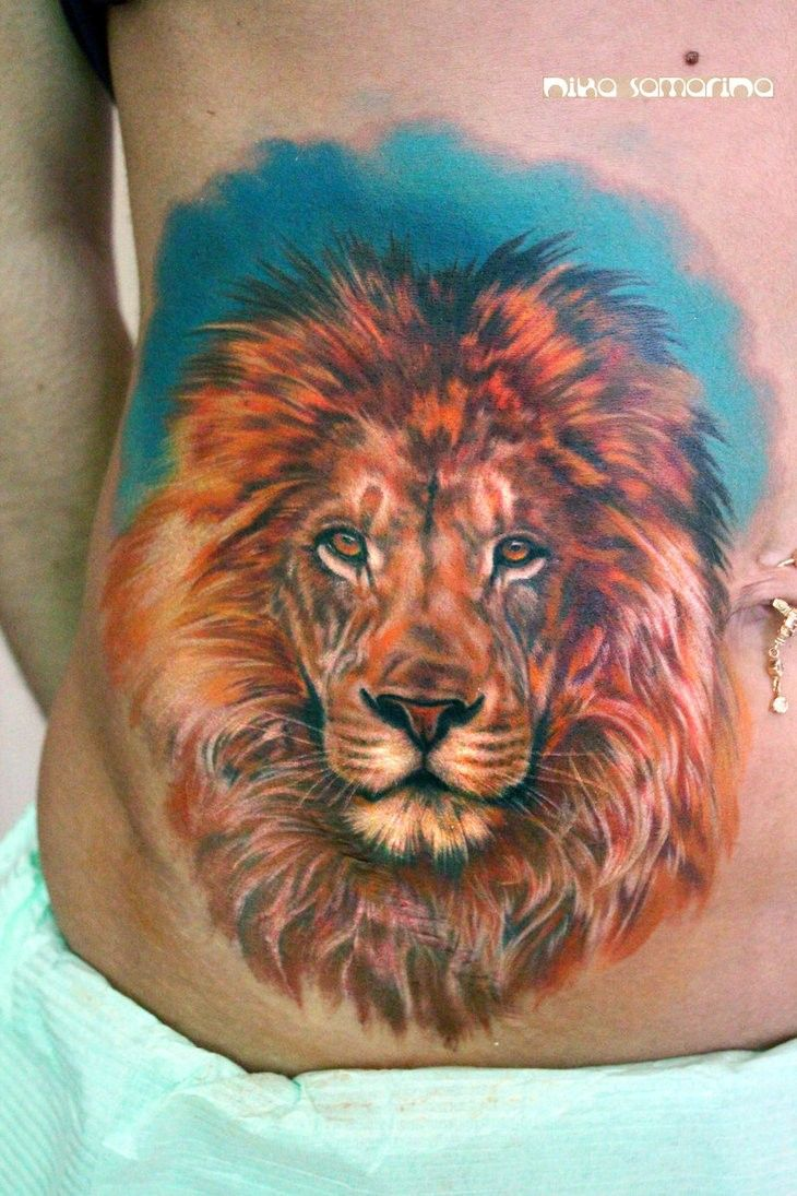 3b43e0fb8 Colourful lion tattoo by nikasamarina | My Body is My Temple | Lion ...