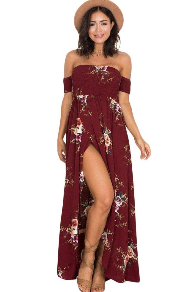 Robe Fleurie Longue Bordeaux Ete Fume Epaule Denudee Fendue Pas Cher Www Modebuy Com Modebuy Mod Boho Dresses Long Boho Style Long Dresses Boho Style Dresses
