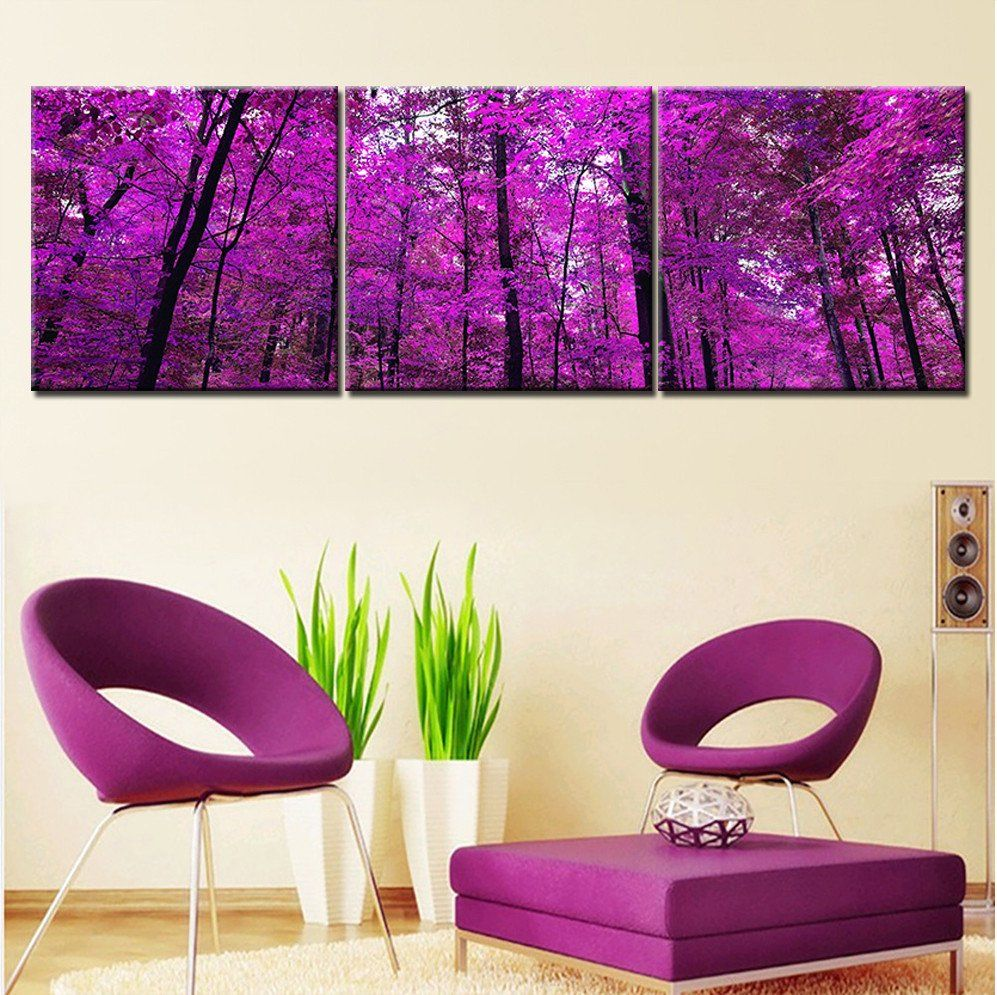 Paintings For The Living Room Purple Tree Oil Painting Canvas Art Modern Landscape Painting