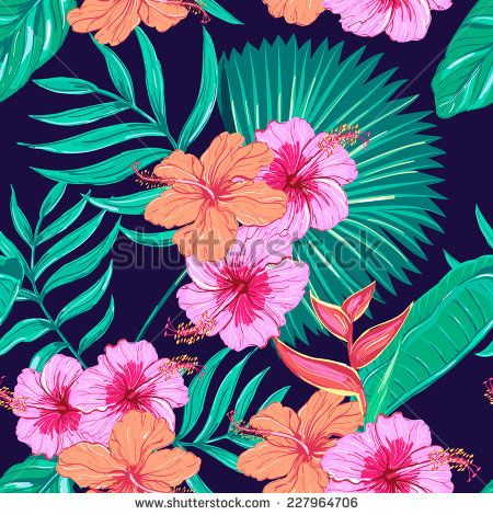 Beautiful seamless floral pattern background. Tropical flowers and plants
