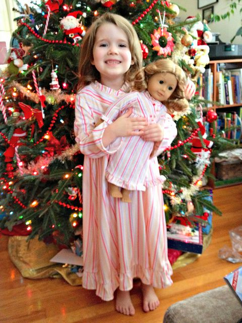 My daughter with her American Girl Doll.