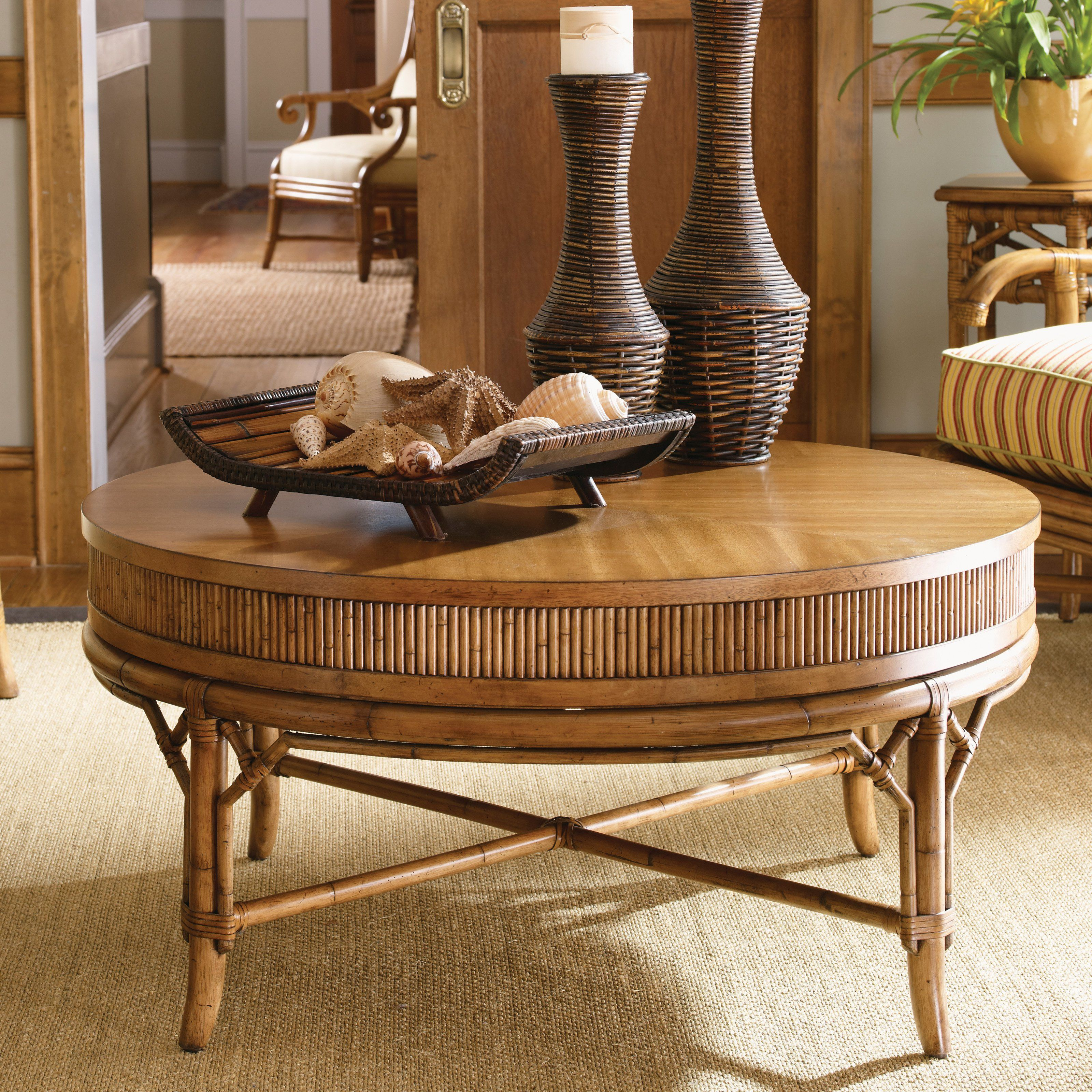Tommy Bahama By Lexington Home Brands Beach House Oyster Cove Round Golden Umb British Colonial Style Living Room British Colonial Style Tommy Bahama Furniture [ 3200 x 3200 Pixel ]
