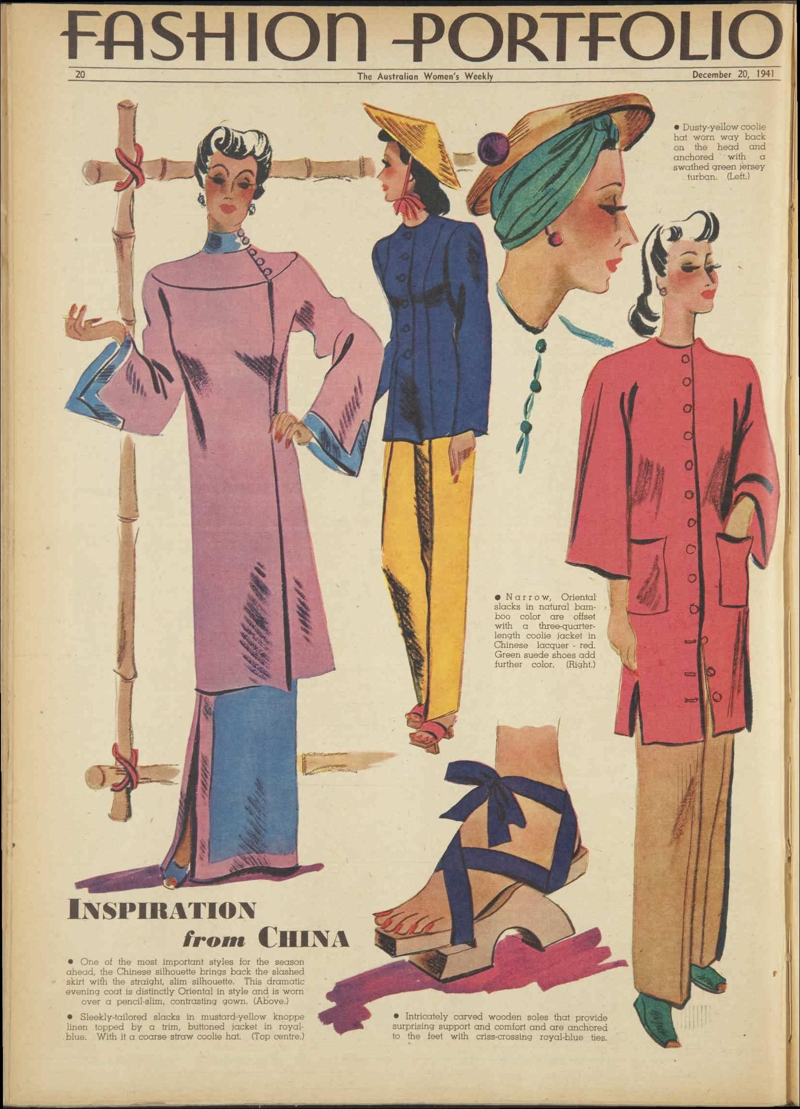 188e09ee0b ... Weekly 40s Asian looks vintage fashion style coat dress jacket pants  hat scarf shoes sandals wood pajamas qipao chongsam pants Chinese Singapore  looks