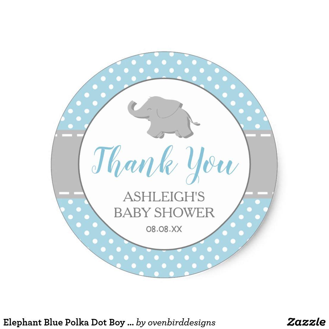 Elephant Blue Polka Dot Boy Baby Shower Classic Round Sticker Baby Shower Stickers Baby Shower Labels Baby Boy Shower