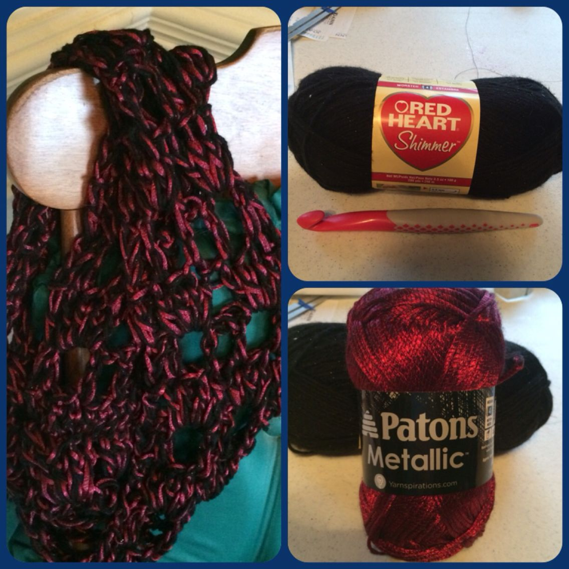 My own scarf pattern using Q hook, black red heart shimmer and ...