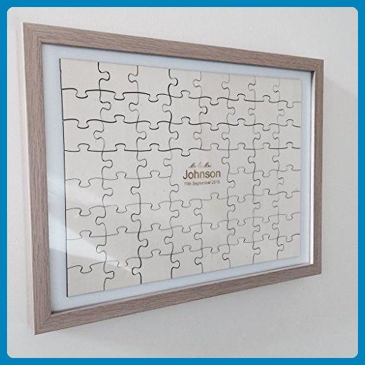 60 Piece Jigsaw wedding guest book - including frame - Wedding ...
