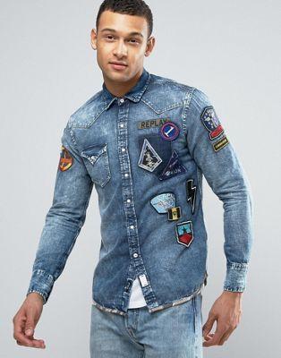 437f71a0f Replay Regular Fit Space Badges Camo Trim Denim Shirt