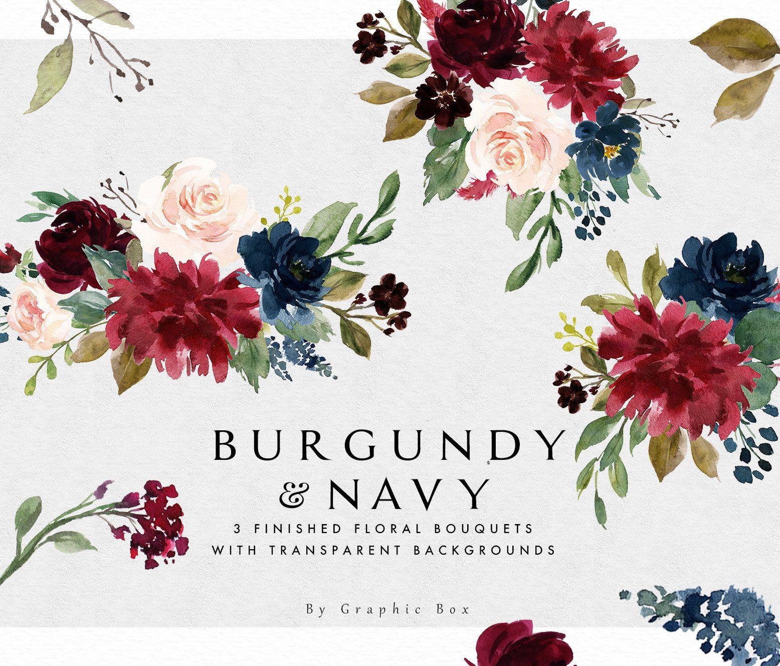 Aquarell Floral Clipart Burgund Navy Floral Elemente Kleine Etsy Floral Watercolor Clip Art Watercolor Flower Wreath