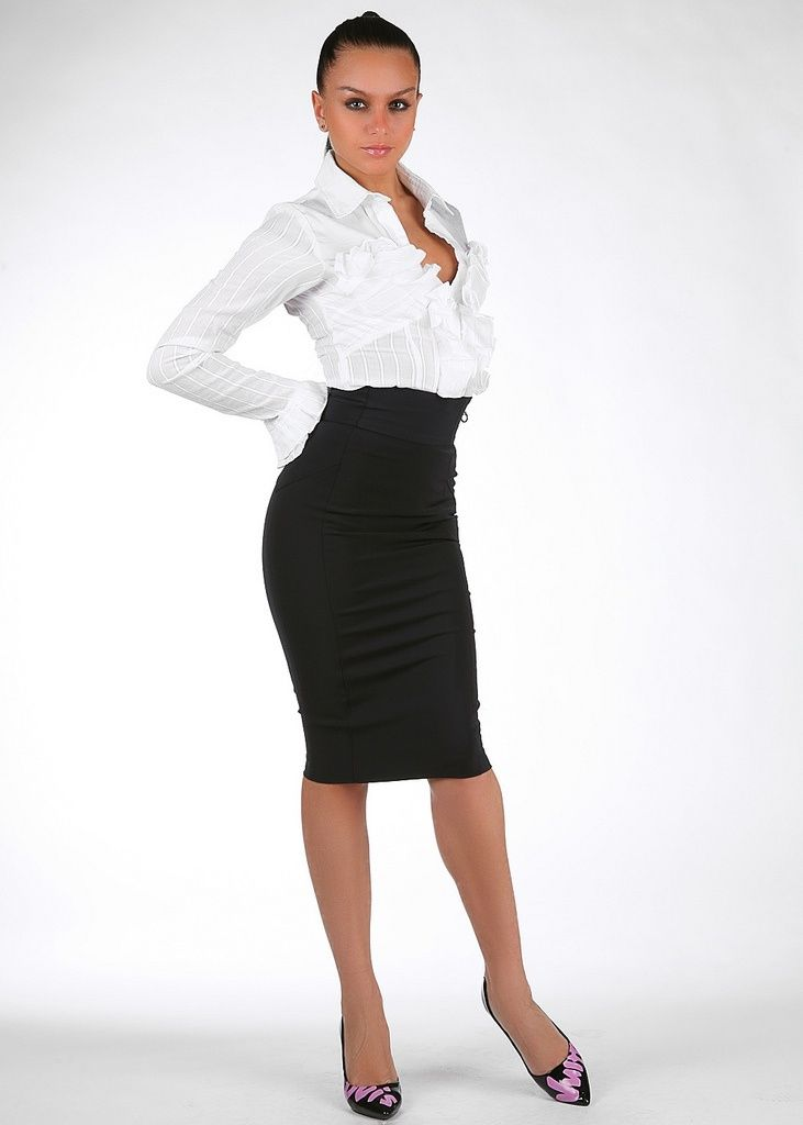 155b940202ee06 High Waist Black Pencil Skirt White Blouse Sheer Pantyhose and Black High  Heels