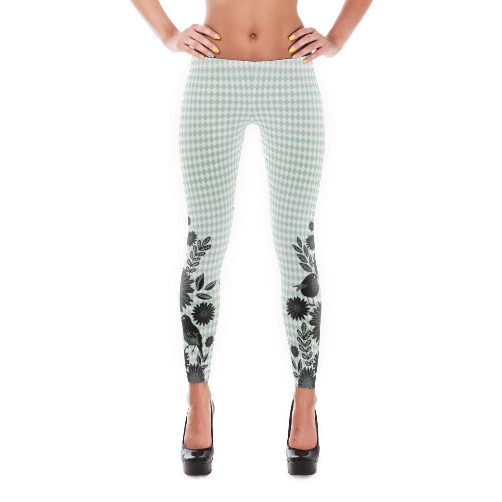 Yoga Leggings - Printed Leggings - Garden Harlequin