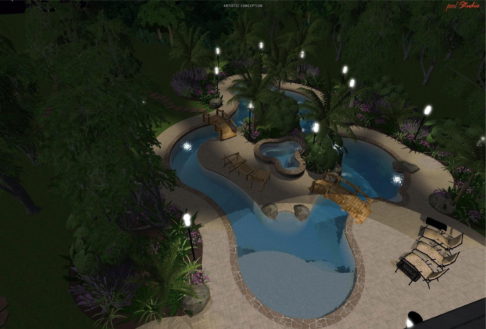 Swimming pool design lazy river lazy river 3d design for Design my own pool