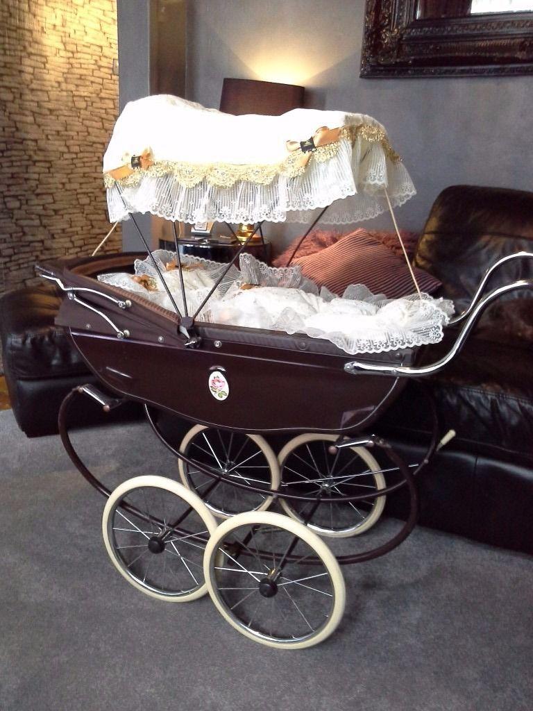 Silvercross dolls pram with handmade bedding set and sun canopy. Brown with cream bedding and a matt