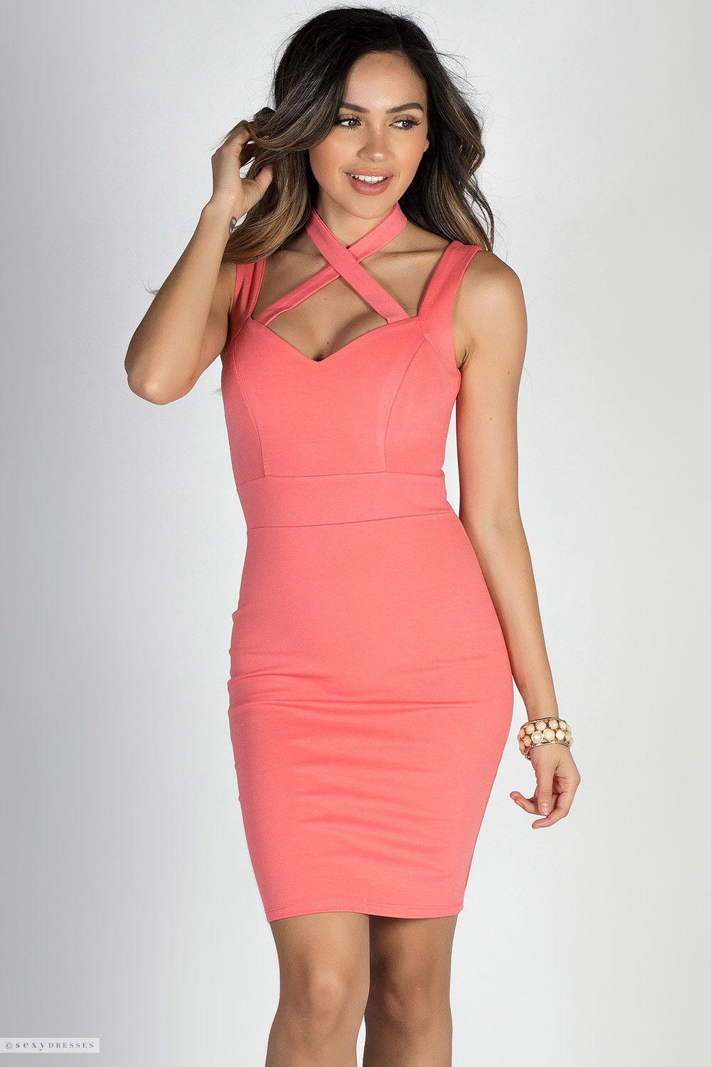 Wide Strap Coral Sweetheart Sheath Cocktail Dress with Crisscross ...