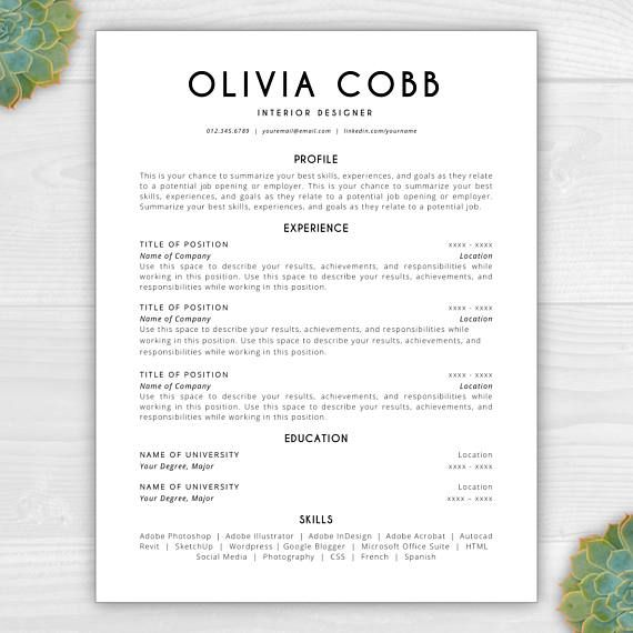 Resume Template Instant Download CV Template Resume Template - word resume template mac