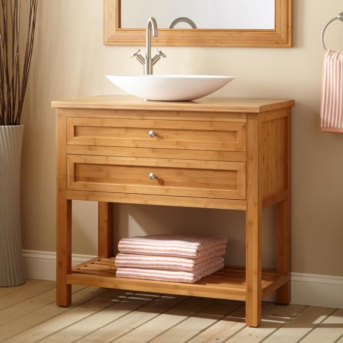 36 Narrow Depth Thayer Bamboo Vessel Sink Console Vanity