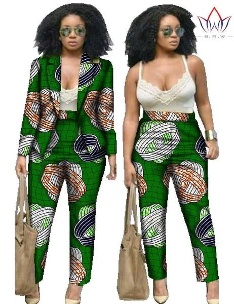 7779437a26 Two Piece Set Pants and Crop Top Plus Size Women African Clothing Print  Pants for Women Pants Set African Outfits