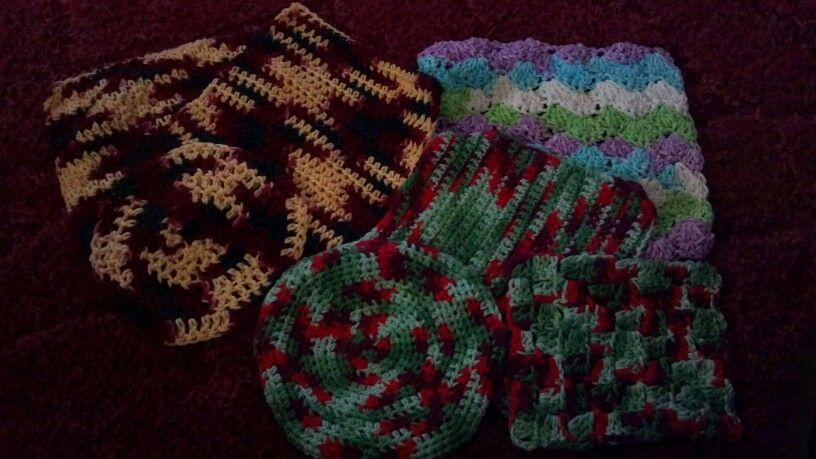 Crochet dishcloths and washcloths