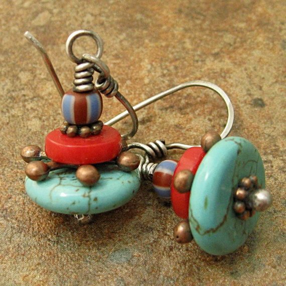Turquoise Coral Stripes Ethnic Petite Dangle by marynewton on Etsy