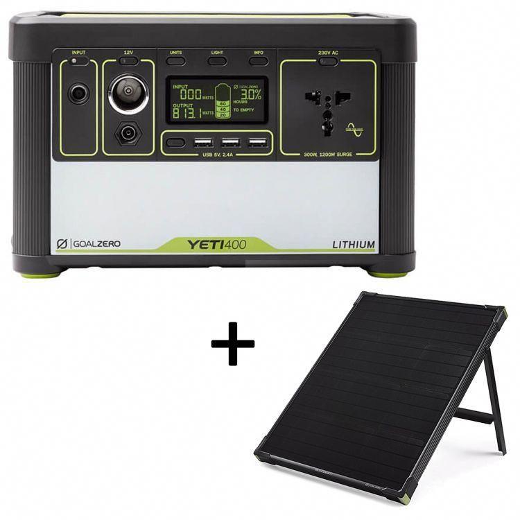 Goal Zero Yeti 400 Lithium Generator And Boulder 50 Solar Panel Leisure Outlet Solarpanels Solarenergy Solarpower Sola In 2020 Solar Solar Panels Solar Power Panels