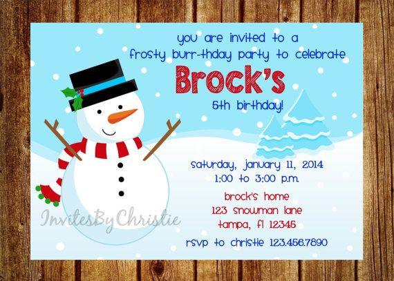 frosty snowman birthday party invitation by invitesbychristie