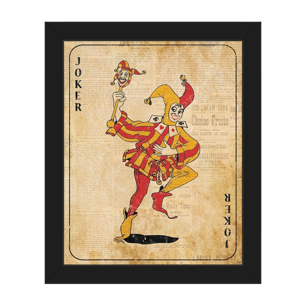 Horizon Vintage Joker Playing Card Framed Canvas Wall Art | Products ...