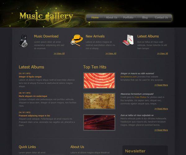 Music Gallery Website Template | Free Music Website Templates ...