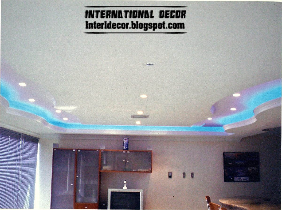 modern gypsum ceiling design - plaster ceiling lighting ideas blue