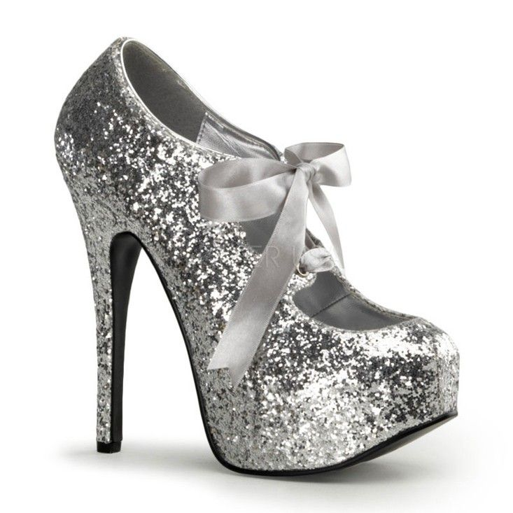 f3ac604219ea Silver Glitter Bow Front Holiday High Heels in 2019