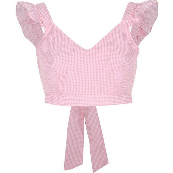 River Island Pink gingham frill shoulder crop top (1,015 MXN ...