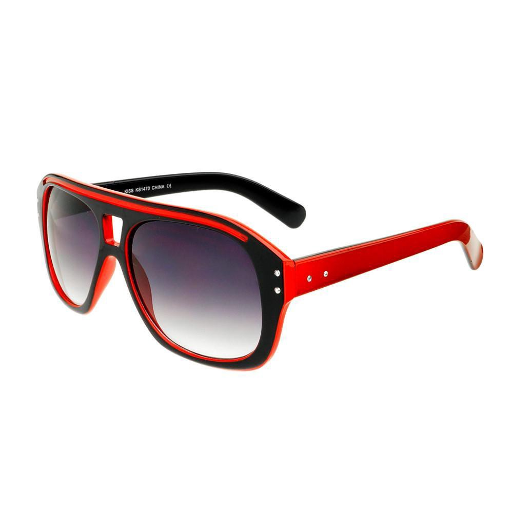 35407b0b2b Frs Two Tone Retro Vintage Style Flat Top Aviator Sunglasses Shades A27 -  Black   Blue