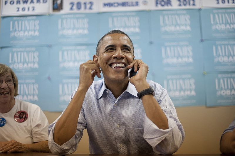 the President manning a phone bank, in North Carolina, I think. Wow!