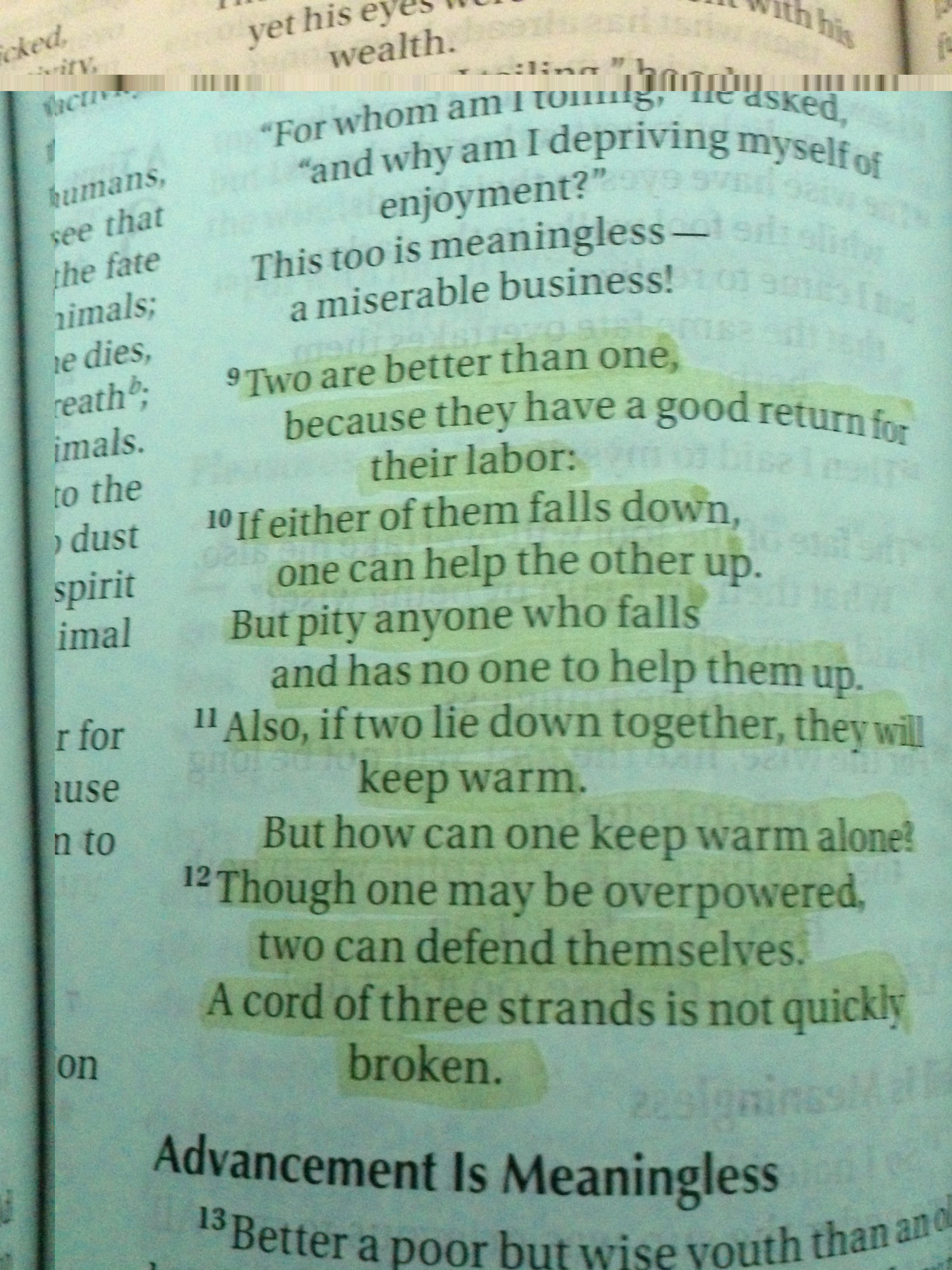 Verses For Wedding Ecclesiastes 4 9 12
