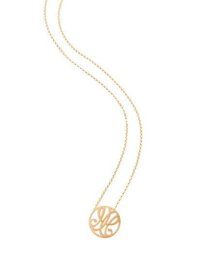 """HH"" Mini Reflection Pendant in 18k Yellow Gold Vermeil"