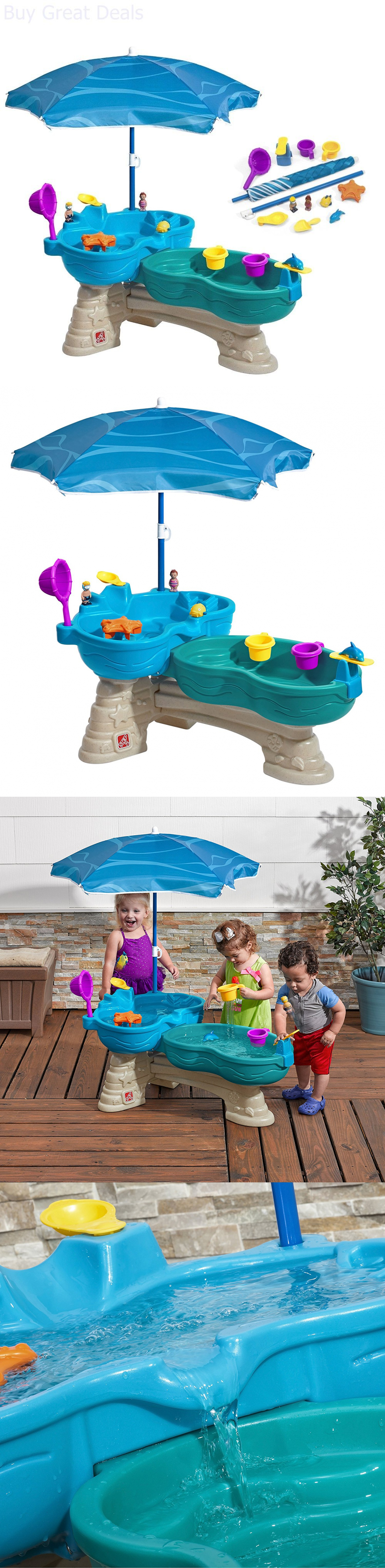 Water Toys Toddler Water Table Shade Umbrella Waterfall
