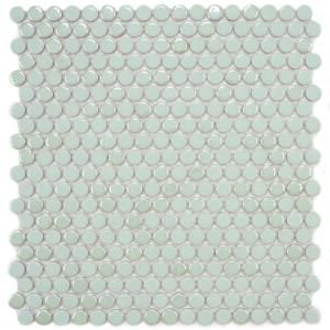 Merola Tile Cosmo Penny Round Mint 11 1 4 In X 12 In Porcelain Wall Tile Home Depot 7 41 Sq Ft With Images Penny Tile Porcelain Mosaic Penny Round Mosaic