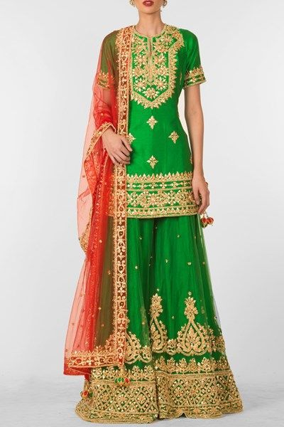 ff313b419b Latest Wedding Bridal Sharara Designs & Trends 2019-2020 Collection. Emerald  green ...