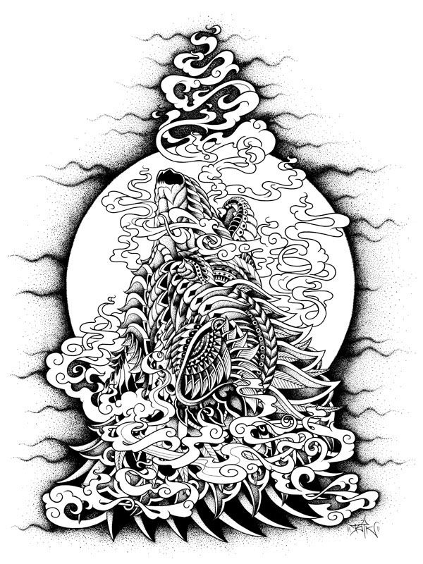 Howling Wolf on Behance | coloring page | Pinterest | Lobos