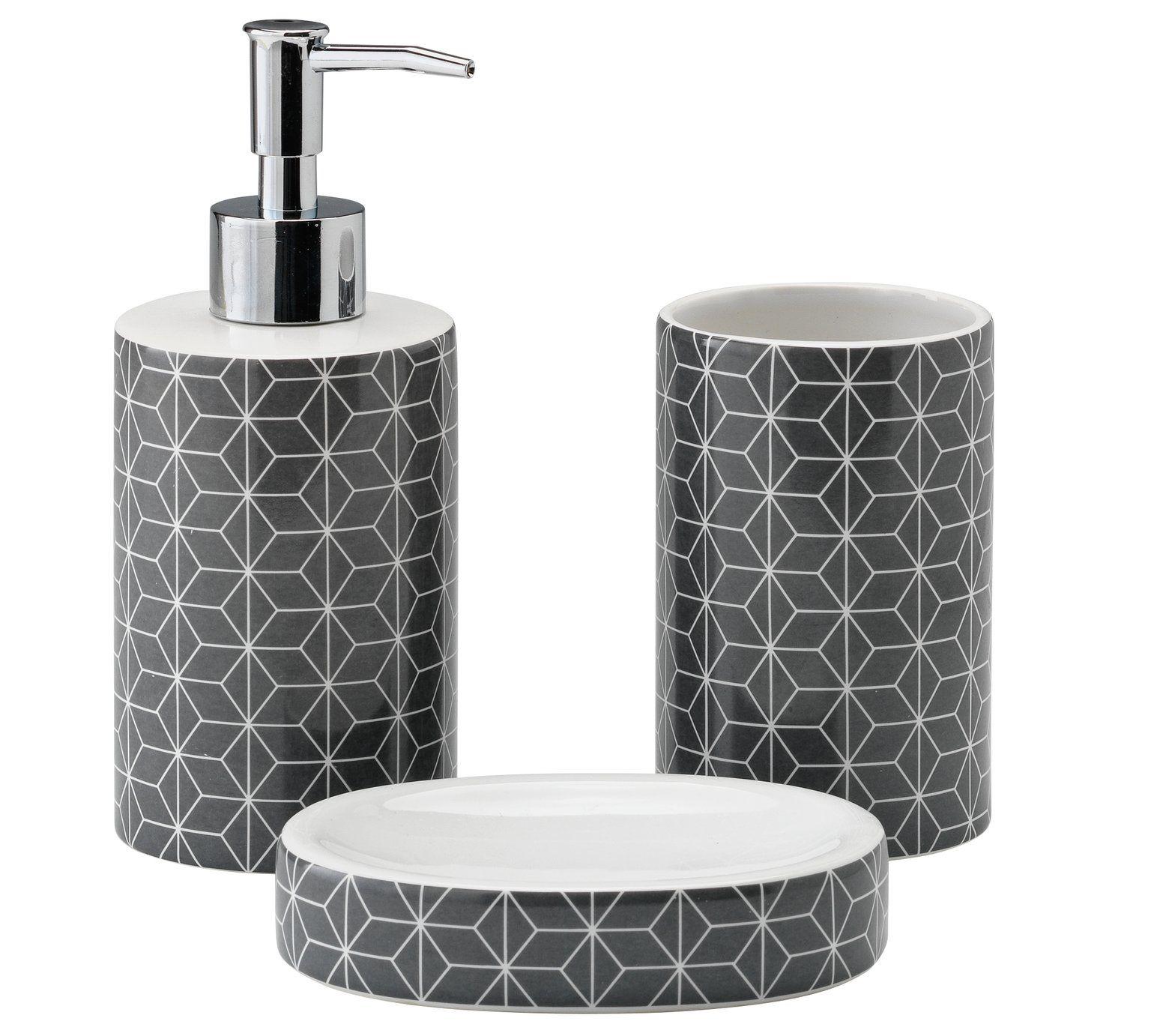 Buy Collection 3 Piece Bathroom Accessory Set - Geo Grey at Argos.co ...