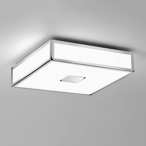 mashiko 300 led square bathroom ceiling light in polished chrome ip44 143w led