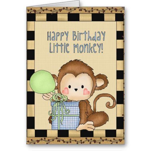 Happy Birthday Little Monkey Greeting Card Zazzle Com Custom Greeting Cards Cards Little Monkeys