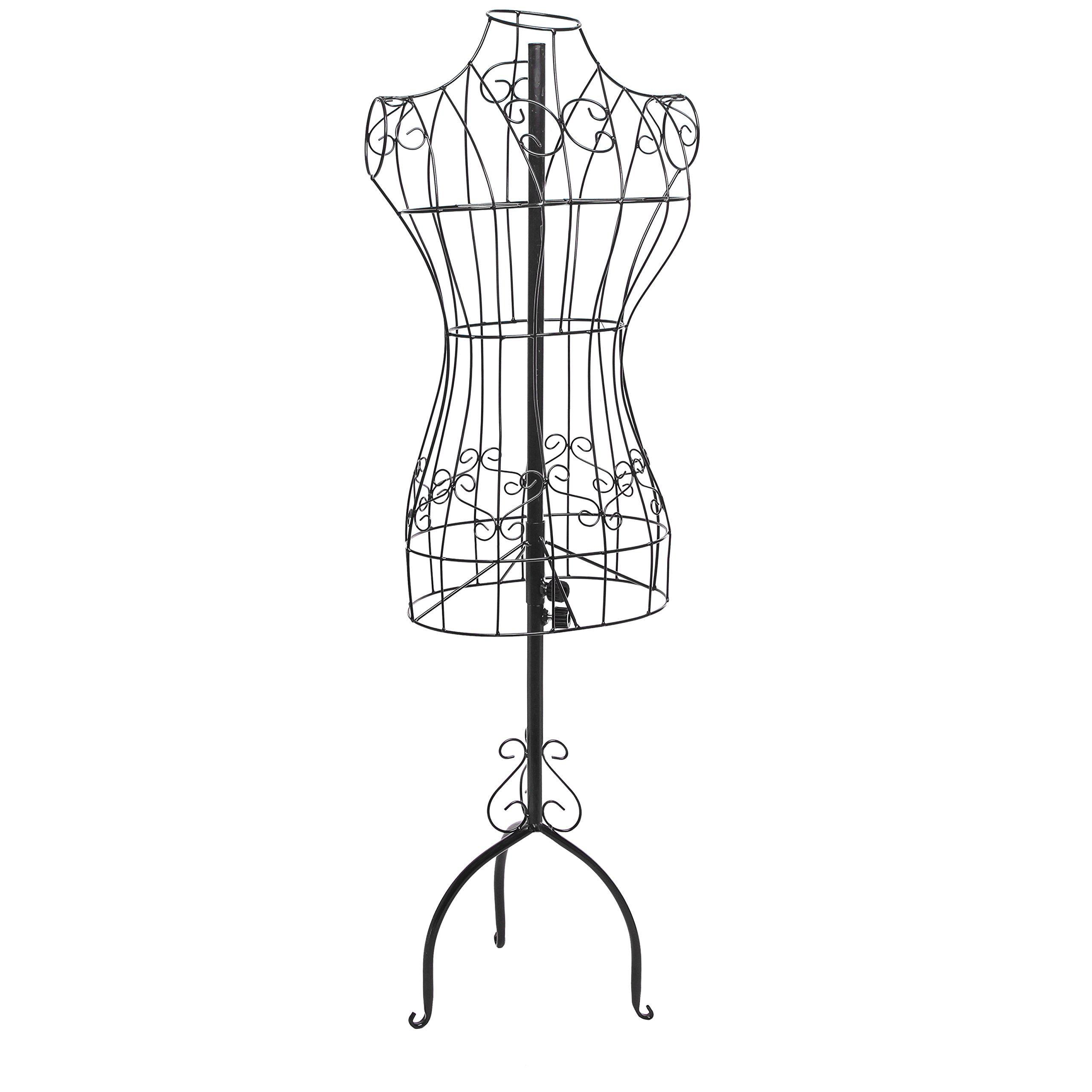 Designers Black Metal Adjustable Height Wire Frame Dress Form ...